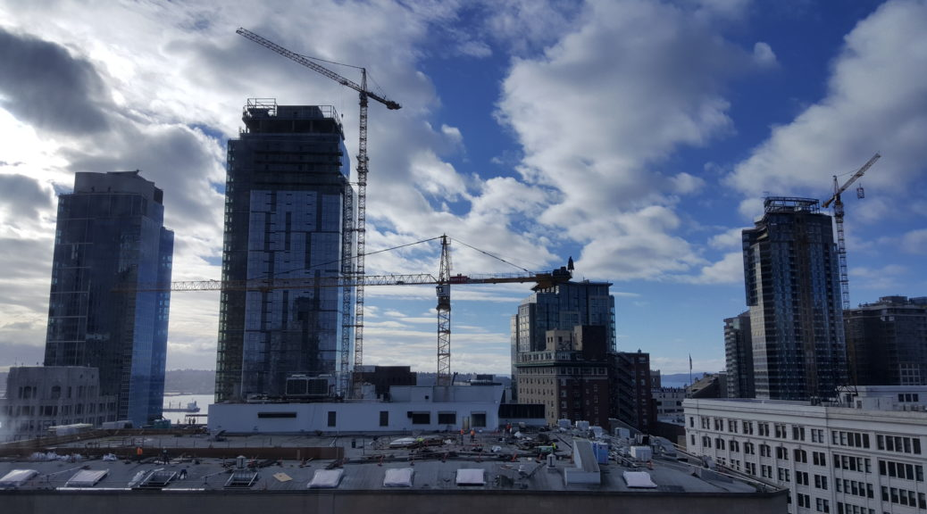 Seattle skyline in the midst of construction. 2016.