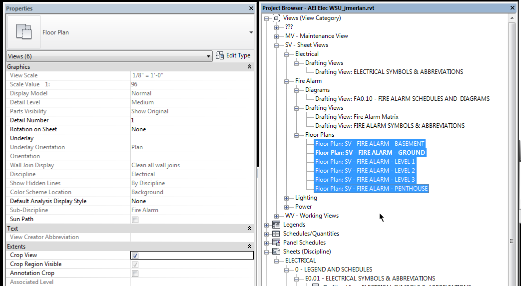Revit - Select multiple views and adjust properties to crop.