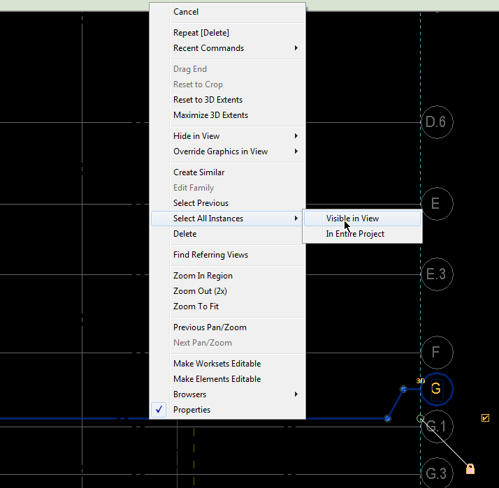Select all grids in view in Revit