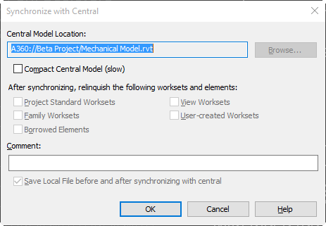 A360 Central Model path when using Collaboration for Revit