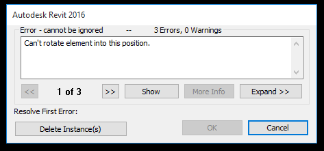 Revit error - Can't rotate element into this position.