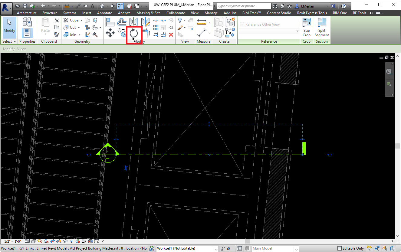 Rotate tool in Revit.