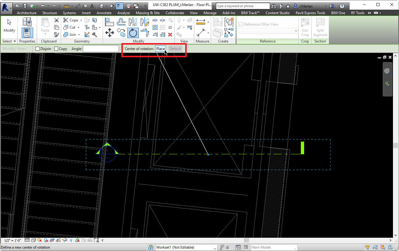 Place your center of rotation in Revit when rotating elements.