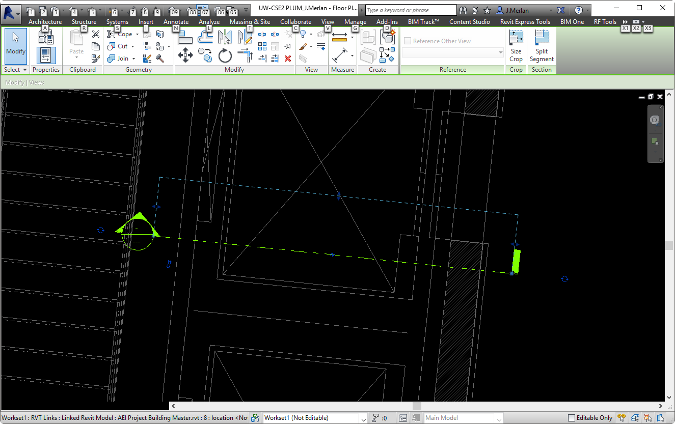 Align a section to an angled element in Revit