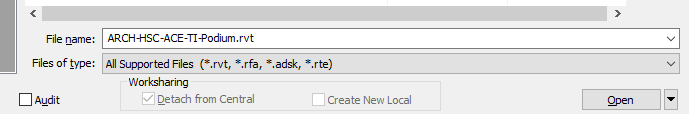 Revit - Can't click the checkbox to detach from central or create new local.