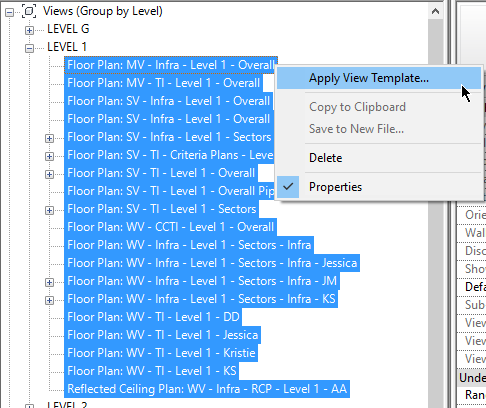 Apply view template properties to all views in Revit.